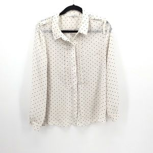 Halogen Polka Dot Sheet Button Down White Black L